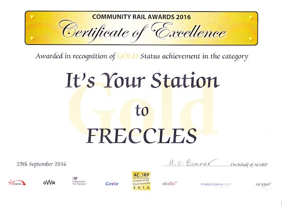 Freccles' Gold Award Certificate