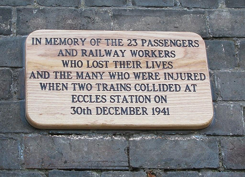 Memorial plaque at Eccles Station