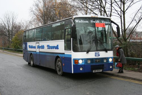 "The Eccles 'standby' coach was AIG 9357 operated by Walton Swift of Preston. Lettering on the side proclaims ""Bamber Bridge Football Club Official Team Coach"""